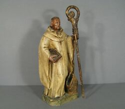 Antique Statue Religious Bishop Wooden Carved Polychrome 19th Century