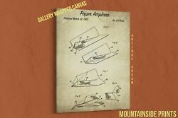 1983 Paper Airplane Canvas Patent Print - Playroom Decor - Origami Art - Kid Toy