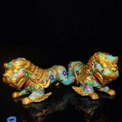 Chinese Cloisonne handmade lion dog Home Decoration a pair
