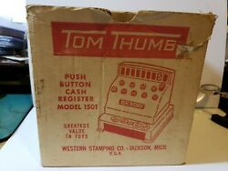 Tom Thumb Push Button Cash Register Western Stamping Co. Toy Coins Box