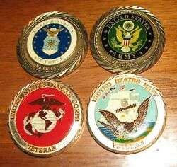 Army - Navy - Air Force - Marine Corps - Veteran Military Challenge Coins Of 4