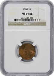 1900 Indian Cent, Ms64rb, Ngc