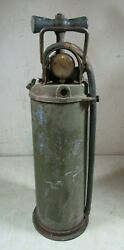Vintage/antique Ashcroft Hand Pump Military Green Water Fire Extinguisher Empty