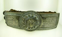 C. 1900 Russian Cossack Belt W/large Silver Niello Buckle And Huge Amount Of Coins