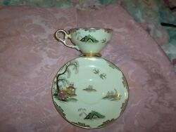 Vintage Lefton China Tea Cup And Saucer Handpainted Of A Pagoda