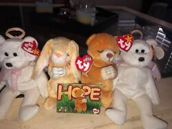 Ty Beanie Babies Errors Hope , 2 Halos And Grace. 10 Goes To Charity