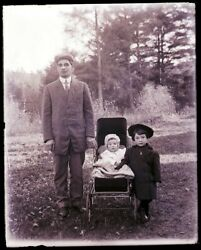 1 Early 1900s Glass Neg, N. Conway, Nh, Cross Family, Perley, Clyde And Minerva
