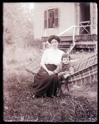 1 Early 1900s Glass Neg, N. Conway, Nh, Cross Family, Eva Sullivan And Clyde C.