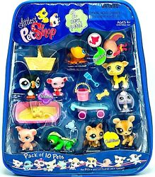 New Hasbro Littlest Pet Shop  10-Pack Pets in Carry Case  Dog Cat  RARE LPS