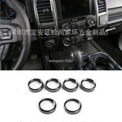 6pcs For Ford F150 2015-2018 Black Air Conditioner And Audio Switch Knob Ring Trim