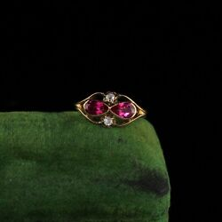 Antique Victorian 14k Yellow Gold Diamond And Ruby Ring