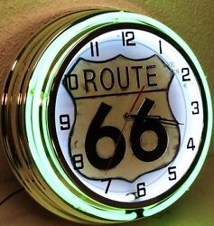 18 Route 66 Sign Double Neon Clock Drive America Mother Road