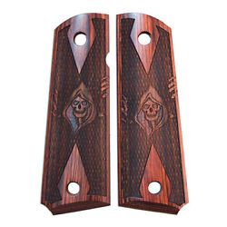 1911 Government Fullsize Grim Reaper Checkered Rosewood Laminate New Grips