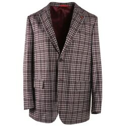 Nwt 3295 Isaia Modern-fit Gray And Burgundy Check Wool Sport Coat 44 R Gregory