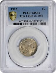 1913 Buffalo Nickel Type 1 Ddr Fs-1802 Ms64 Pcgs