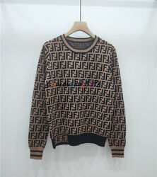 Designer  NEW Occident Women's Knitted sweater Fashion Tops Round collar S M L