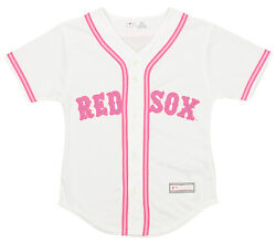 Outerstuff MLB Girls Youth Boston Red Sox Pink Glitter White Replica Jersey $36.00
