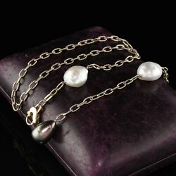 Vintage Estate 14k White Gold Tahitian And South Sea Pearl Necklace