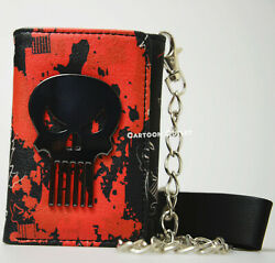 The Punisher Tri-Fold Chain Wallet Red Marvel Comics Heroes Skull New With Tag $15.95