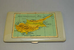 Vintage Old 1960's Tin Cigarette Box Case With Cyprus Map, Tin Box, Cigar Box