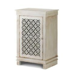 Distressed shabby antique ivory white End side bedside Table Nightstand cabinet