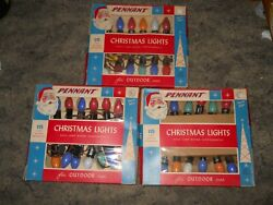 3 Vintage Pennant Outdoor Christmas Lights 15 Light Sets With Original Boxes