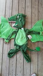 Pottery Barn Kids Halloween Toddler Green Dragon Costume 3t 2 Pieces #4308