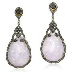 925 Sterling Silver 18k Gold 44.8ct Natural Carved Jade Diamond Dangle Earrings