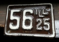 ILLINOIS - 1925 MOTORCYCLE license plate - 100% orig. super shorty chocolate #56