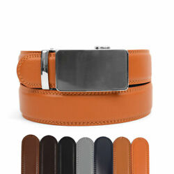 Genuine Leather Belt w Automatic Locking Sliding Ratchet Buckle Cut to Size