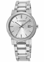 New Burberry Large Check Silver Dial 38mm Men#x27;s Watch BU9000 $240.24