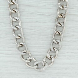 2ctw Diamond Curb Chain Necklace - 14k White Gold 17.75