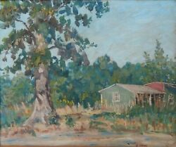 Hugh Campbell Homestead With Tree Oil On Board C1950 New Jersey