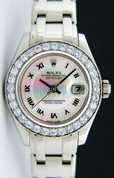 Rolex Lady Pearlmaster Gold Decorated Mother of Pearl Diamond 80299 -WATCH CHEST