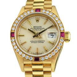 Rolex Lady President Gold Silver Tapestry Ruby Diamond Bezel 79178 WATCH CHEST