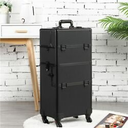 Makeup Train Case Professional Cosmetic Travel Rolling Vanity Organizer Trolley $93.99