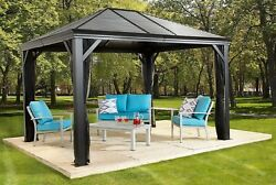 Outdoor 10and039 X 10and039 Gazebo Metal Sun Shelter With Mosquito Netting