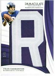 2018 Panini Fran Tarkenton Immaculate Collection Nameplate Nobility Letter R 3/9