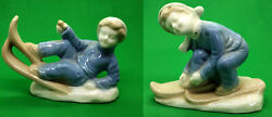 2 Japan Skier Vintage Figurines Boy and Girl Porcelain Small Collectible Set