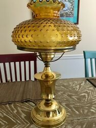 Vintage Large Brass Lamp With Hobnail Amber Glass Hurricane Shade Ruffle Top