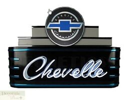 Chevelle Chevrolet Marquee Art Deco Neon Sign 39 Wall Window Steel Can Back New