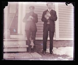 Late 1800s Early 1900s Glass Negative, Two Men, Cats, Dog, Unknown Location