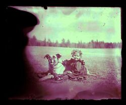 Late 1800s Early 1900s Glass Negative, Girl And Dog As Seen, Unknown Location