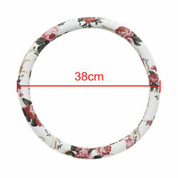 Flower Pattern Steering Wheel Cover Protector For Vehicle Car Auto 37-38cm