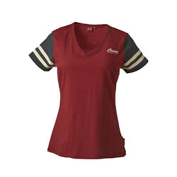 Indian Motorcycle Women#x27;s T Shirt with Circle Icon Logo at Back Red Black $24.99
