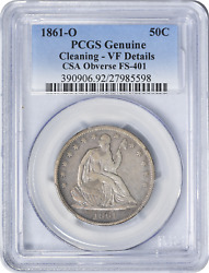 1861-o Liberty Seated Half Dollar Csa Obverse Fs-401 Cleaning - Vf Details Pcgs