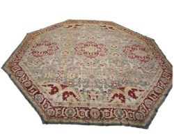 Antique 21X21 Octagon Shaped Indian Agra Area Hand-Knotted Wool Carpet ca 1880