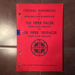 Vintage Piper Pacer Pa-20 And Tri-pacer Pa-22 Ownerand039s Handbook Manual