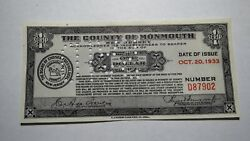 1 1933 Freehold New Jersey Nj Cancelled Debt Slip Obsolete Currency Bank Note