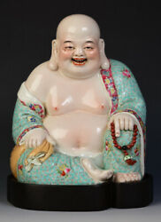 20th Century, Republic, Antique Chinese Porcelain Seated Laughing Buddha